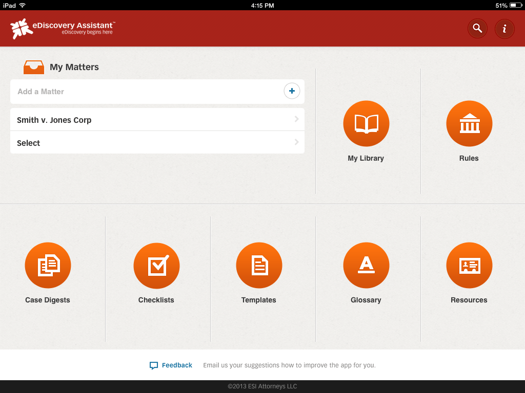 ediscovery assistant for iPad 1