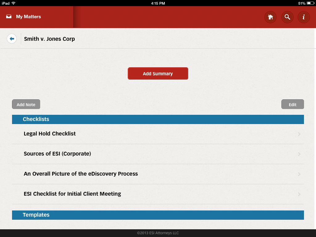 ediscovery assistant for iPad 2
