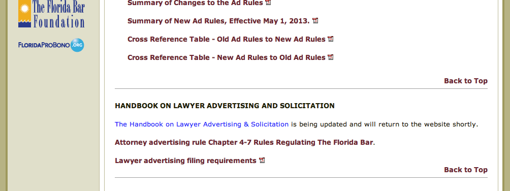 That's right. The guide provided by the Florida bar to help